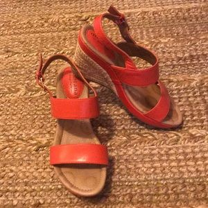 Red Wedge Leather Sandals
